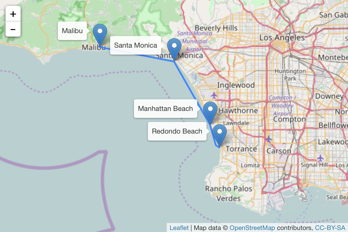A possible route for ferry services around Santa Monica Bay
